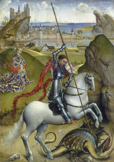 Weyden, Rogier van der: Saint George and the Dragon. Fine Art Print/Poster. Sizes: A4/A3/A2/A1 (004170)